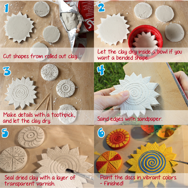Lufttrocknender Ton air drying clay sun discs colorful crafts