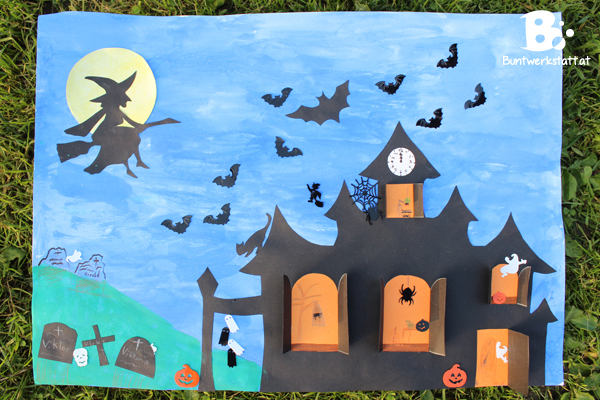 Geisterhaus basteln f r halloween basteltipp f r kinder Haunted house drawing ideas