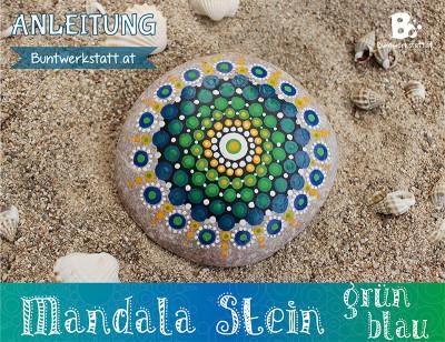Mandala Stein Malen – Grün Blau